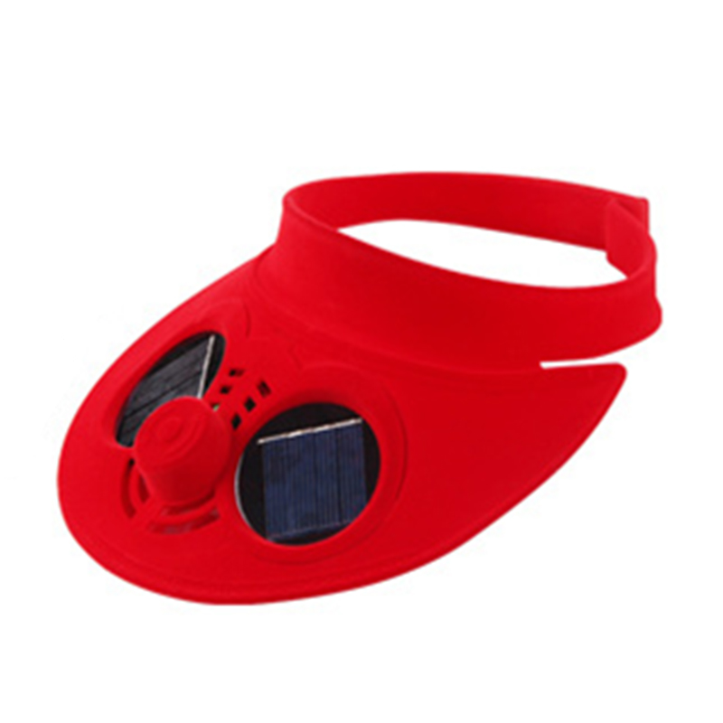 Unisex Summer Sports Cap Empty Top Baseball Hat with Solar Powered Fan Cooling Fan Cap for Camping Traveling Color:Red
