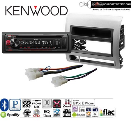 Kenwood KDC125U Radio Install Kit with Bluetooth, CD Player, USB/AUX Fits 2005-2011 Non Amplified Toyota Tacoma (Silver
