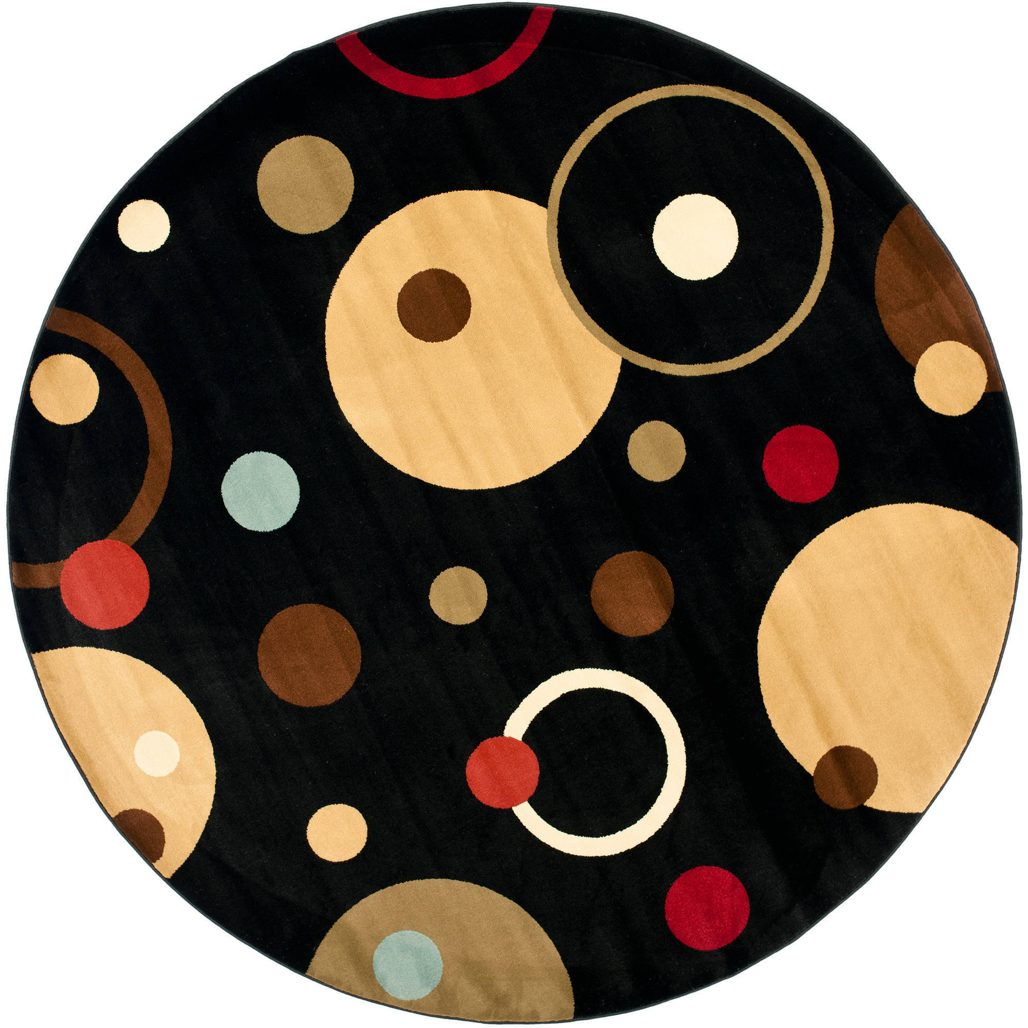 Safavieh Art Deco David Polypropylene Round Rug, Black and Multi-Color, 7' Diameter