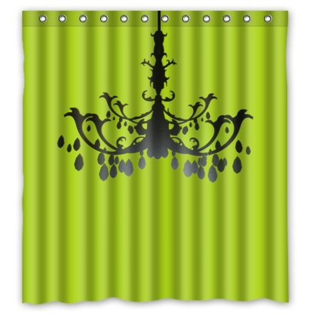 BSDHOME Green Background Chandelier Waterproof Bathroom Fabric Shower Curtain 66x72 inches - image 1 de 1