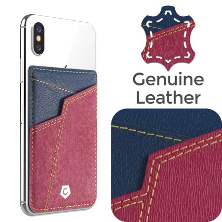 stick on genuine leather card holder adhesive id business card cell phone wallet by cobble pro for iphone x 8 7 6 6s plus 5s se lg stylo 3 samsung galaxy s9 - Cell Phone Business Card Holder