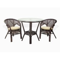 SK New Interiors Pelangi Dining Set of 2 Natural Rattan Wicker Armchairs w/Cream Cushion and Dining Round Table Glass Top, Dark Brown