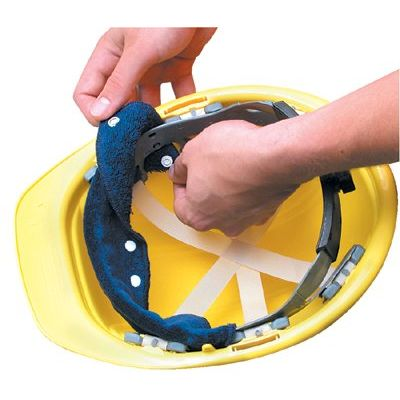 OccuNomix Snap-On Hard Hat Sweatband, Blue, 100 Per Pack