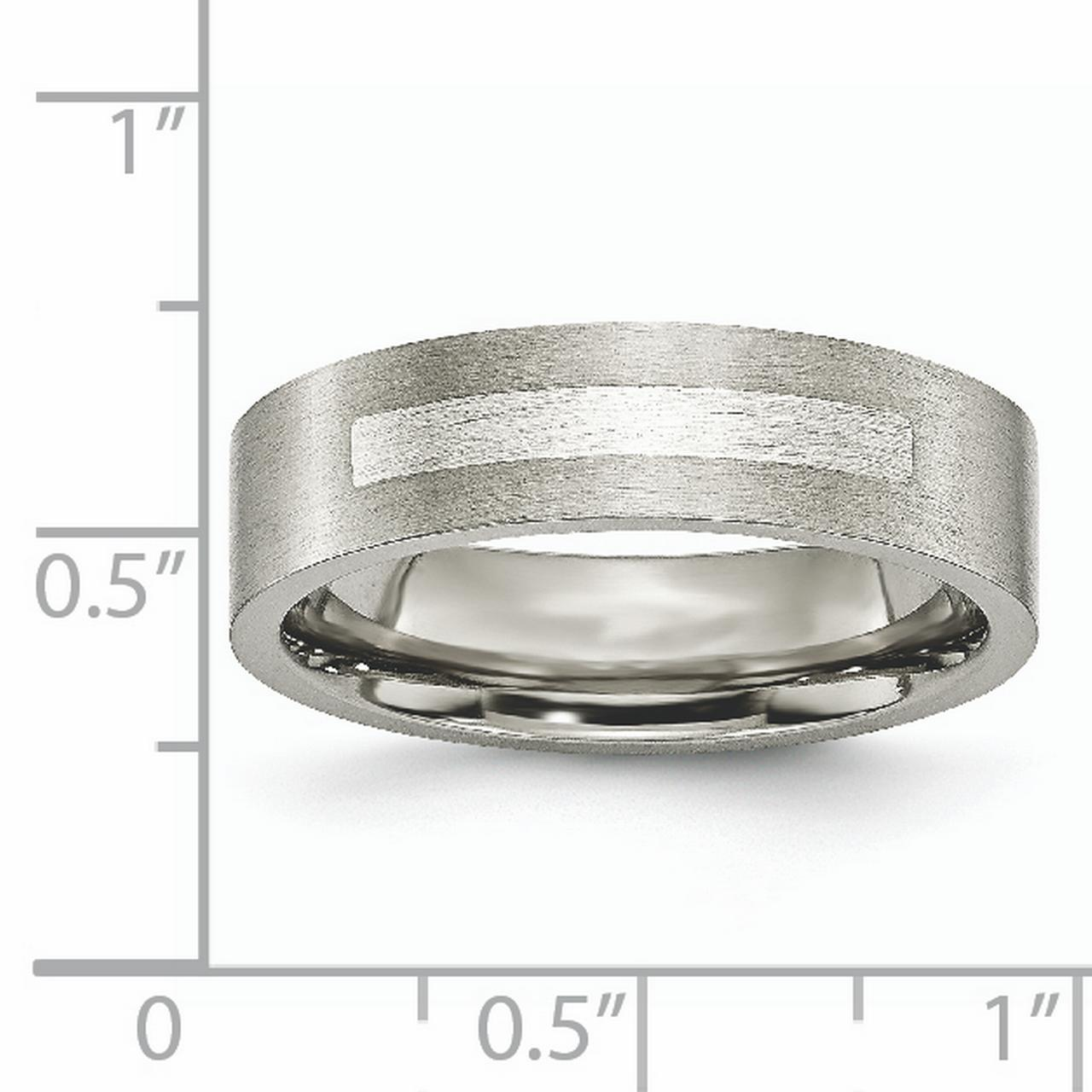 Titanium Flat 6mm 925 Sterling Silver Inlay Brushed Wedding Ring Band Size 12.50 Precious Metal Fine Jewelry Gifts For Women For Her - image 6 of 7