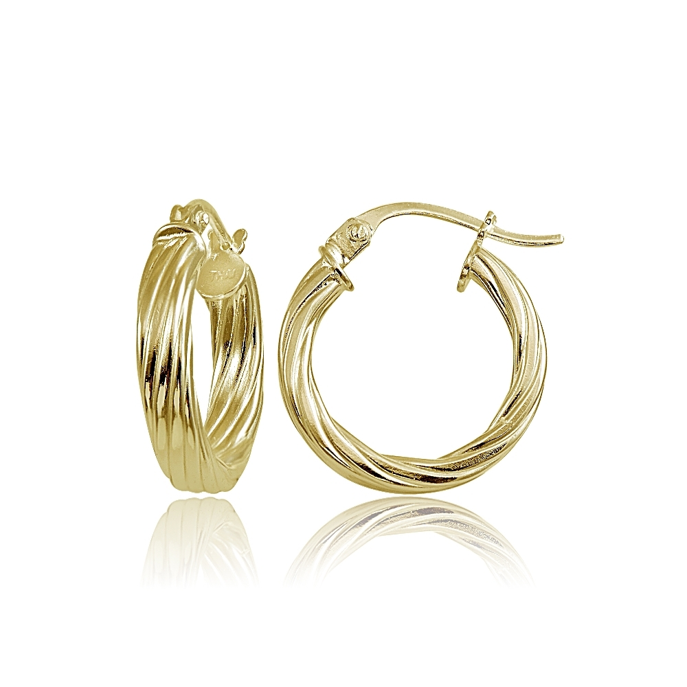 15mm Sterling Silver 3mm Twisted High Polished Round Hoop Earrings