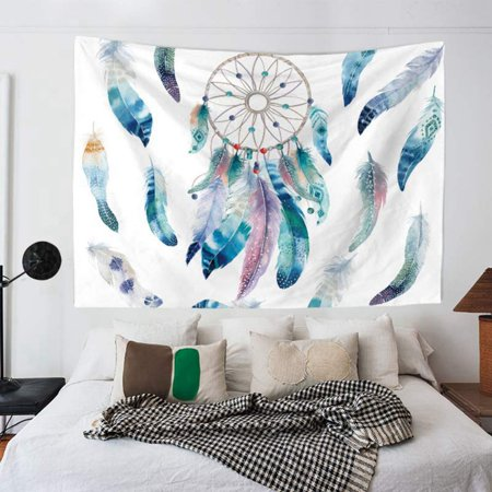 Bronze Feather Tapestry - Wall Hanging Colorful Dream Catcher Tapestry Bohemian Feather Printed