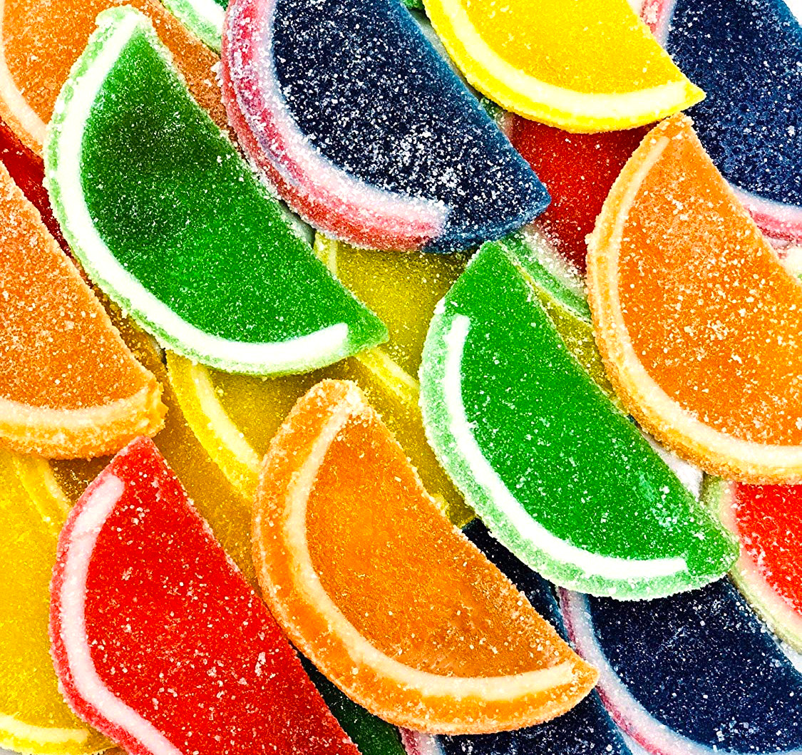 Boston Assorted Fruit Slices - Candy Fruit Jelly Slices unwrapped bulk 5 pounds box