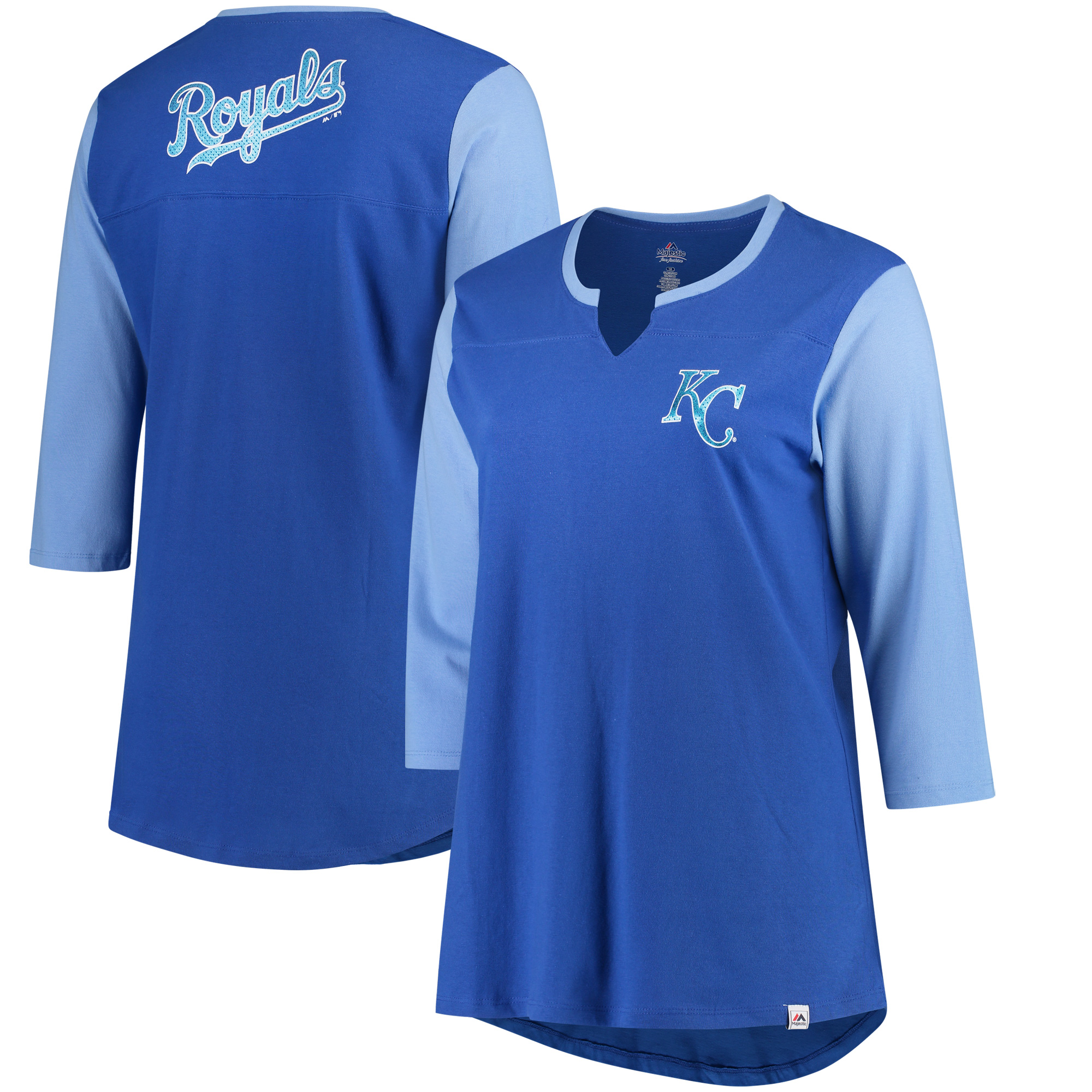 Kansas City Royals Majestic Women's Plus Size Above Average 3/4-Sleeve Raglan T-Shirt - Royal/Light Blue