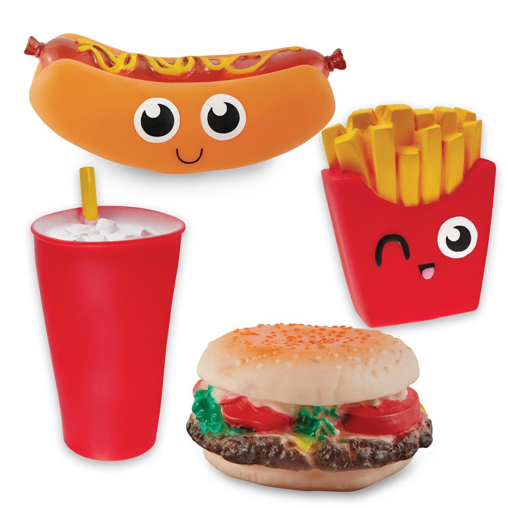 Fast Food Squeaky Dog Toys Set Of 4 Hamburger Hotdog