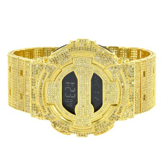 G Shock Mens DW6900 canary Lab Created Cubic Zirconia Custom Digital Metal Band Watch