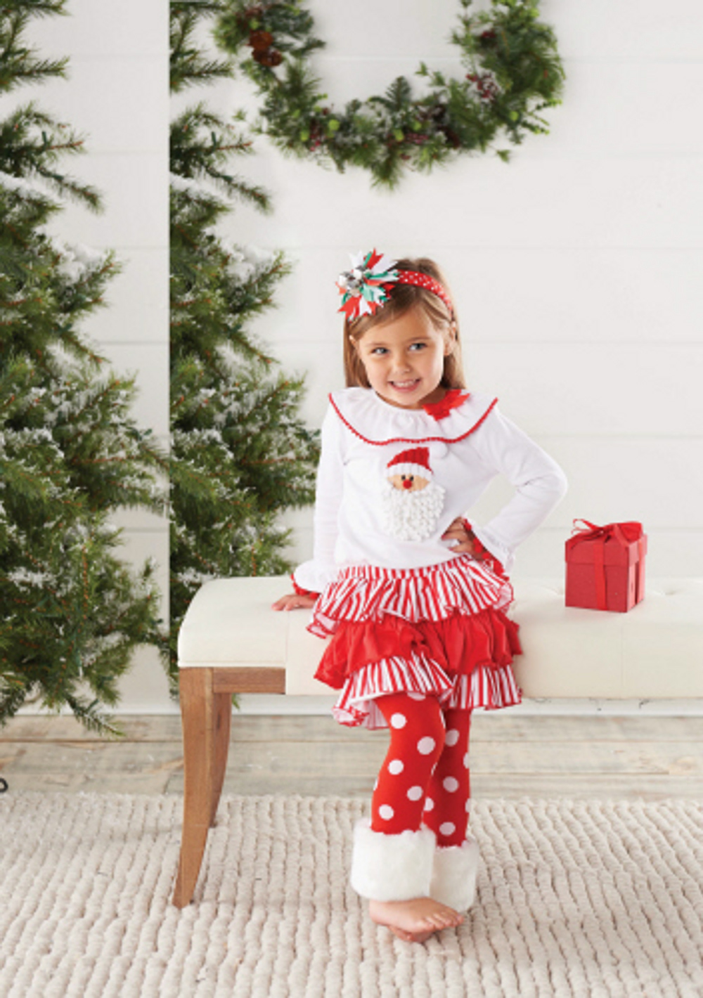 in fashion kids baby or toddler girls christmas outfit santa fur cuff legging set 4t walmartcom