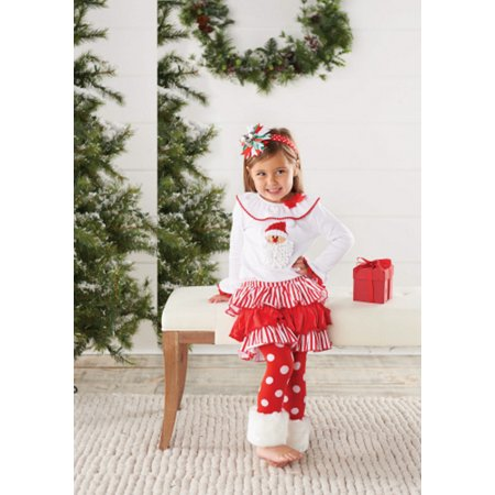Baby or Toddler Girls Christmas Outfit: Santa Fur Cuff Legging Set 3T