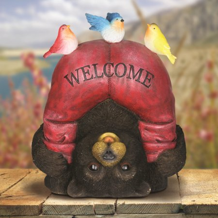 Exhart Solar Welcome Bear with Birds Garden Statue ()