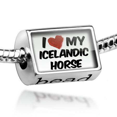 Love Icelandic Horse - Bead I Love my Icelandic Horse Charm Fits All European Bracelets