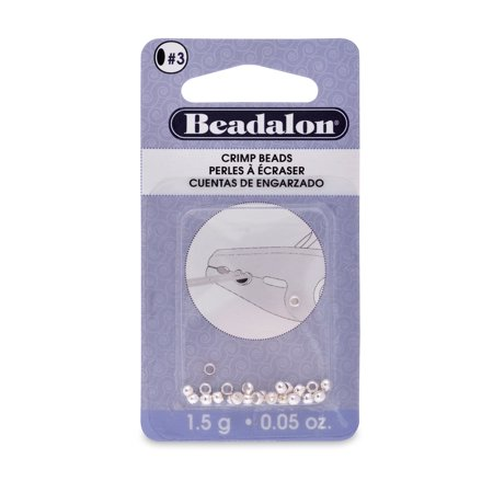 Beadalon Crimp Beads, Silver-Plated 3mm, 1.5g Bag (Approx. 27/Pkg.)