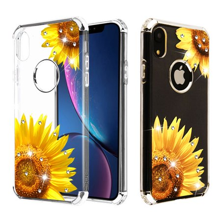 Apple iPhone XR (6.1 inch) Phone Case Tuff Hybrid Shockproof Impact Rubber Dual Layer Hard Soft Protective Hard Case Cover Transparent Sunflower Field Phone Case for Apple iPhone Xr / 6.1""