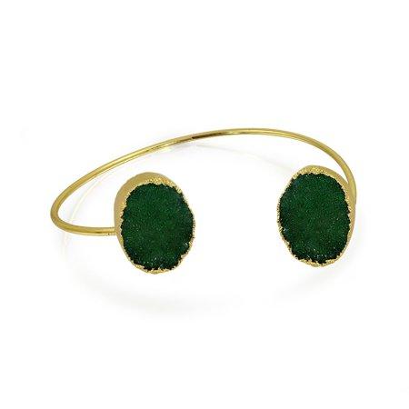 Boho Fashion Blue White Green Organic Druzy Bangle Thin Cuff Bracelet For Women For Teen 14k Gold Plated Metal