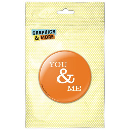 You and Me on Orange Refrigerator Button Magnet