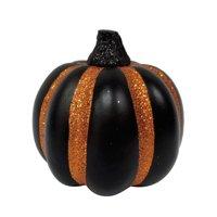 Halloween Gloss Black and Orange Stripe Mini Pumpkin