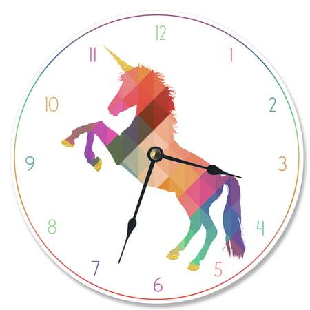 - The Stupell Home Decor Collection Geometric Rainbow Unicorn Vanity Clock