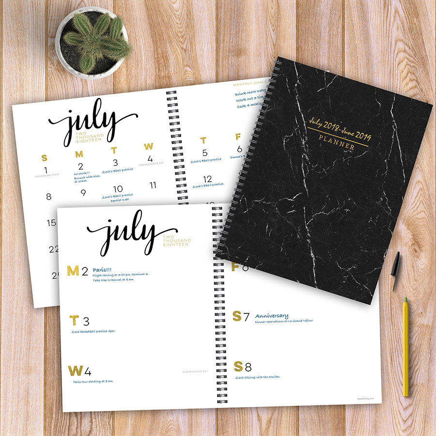 "2019 Black White & Gold Marble July 2018 June 2019 Academic Year 11""x9"" Large Weekly Monthly Planner by TF Publishing"