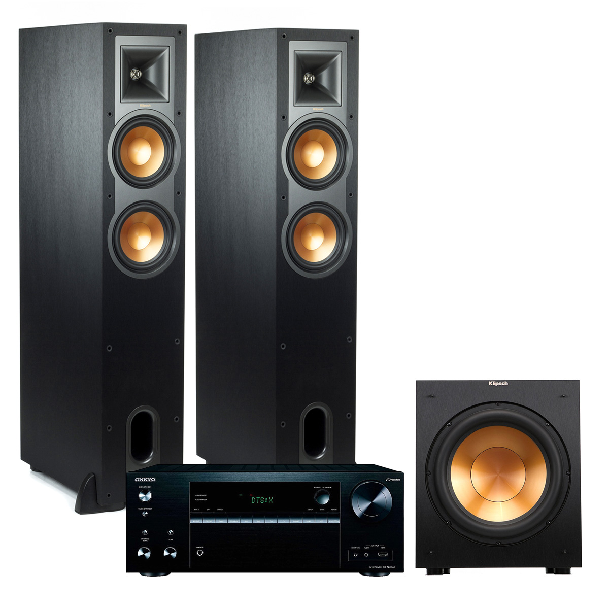 Onkyo TXNR676 4K Multizone A V Receiver with Klipsch R-26FA Dolby Atmos Floorstanding Speakers and Subwoofer (Black) by Onkyo