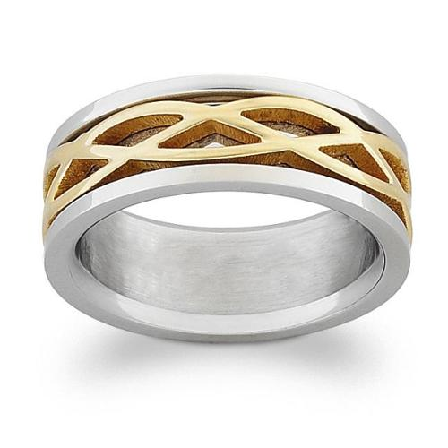 Titanium Two-Tone Engraved Celtic Weave Band Size 13