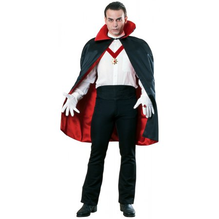 Red and Black Reversible Satin Cape Adult Costume Accessory