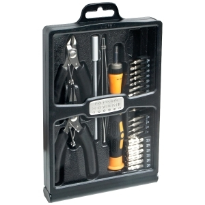 32 PIECE HOBBY TOOL KIT HOUSED IN A BLACK SLIM HANDSOME CASE