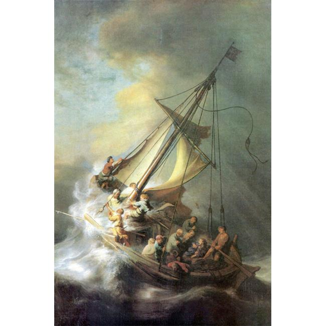 Buy Enlarge 0-587-26446-2C12X18 Christ in a storm on the sea of Galilee - Canvas Size C12X18