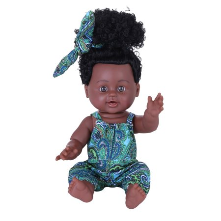 Iuhan Black Girl Dolls African American Play Dolls Lifelike 12 inch Baby Play