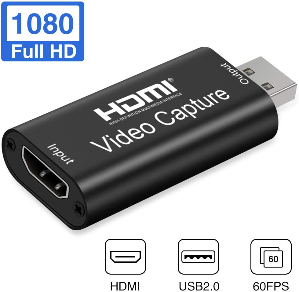 NueTek HDMI to USB Video Capture Card USB 2.0 1080P Record Easily Connect DSLR Camcorder Action Cam to PC Mac for High Definition Acquisition Live Video Streaming