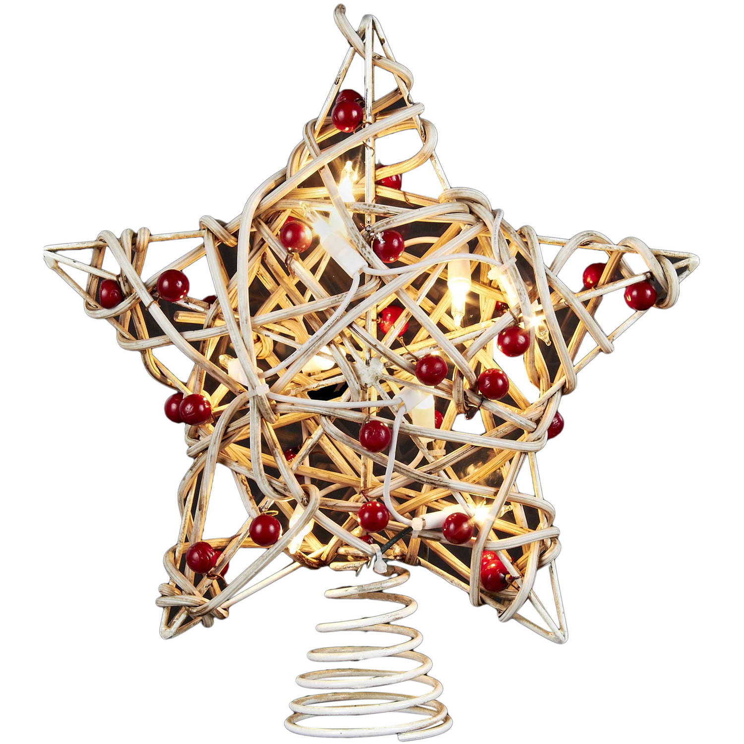 Kurt Adler UL 10-Light Birch Berry Rattan Star Tree Topper
