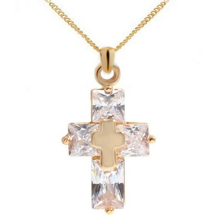 Goldstone Freshwater Necklace - Designer Inspired Gold-Tone Cross Pendant Necklace, 18
