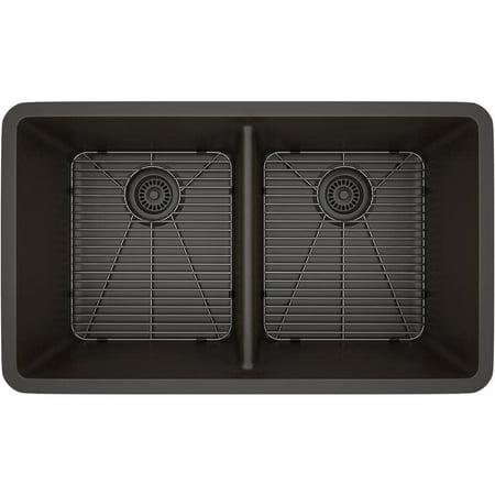 LEXICON  Platinum Double Equal Bowl Quartz Composite 32 x 19 x 9 / 9 in. D Kitchen Sink (31 X 19 Kitchen Sink)