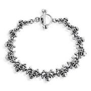 Aeravida Handmade Skull and Crossbones Link .925 Sterling Silver Toggle Bracelet (Thailand)
