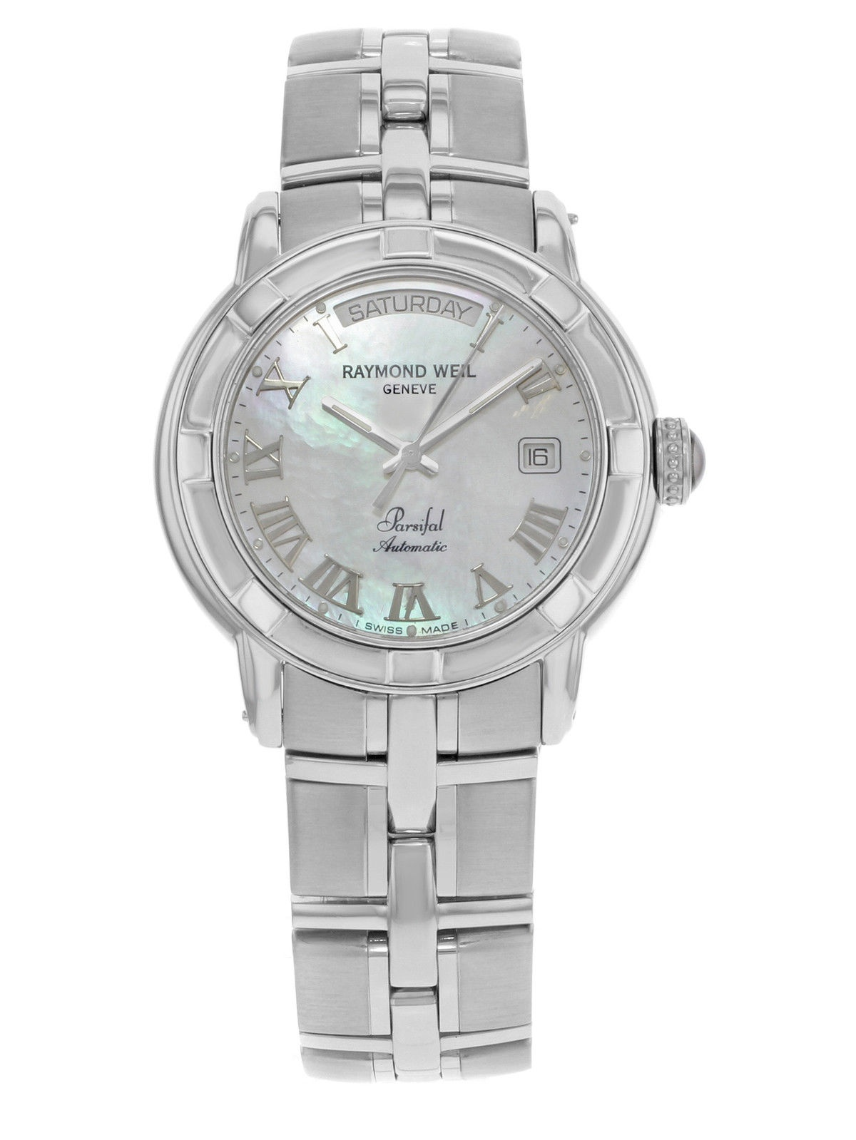 Raymond Weil Parsifal MOP Day Date Steel Automatic Mens Watch 2844-ST-00908