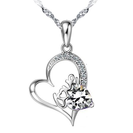 Cuff White Pendant - 14K White Gold Plated Forever Lover Heart Pendant Necklace For Women