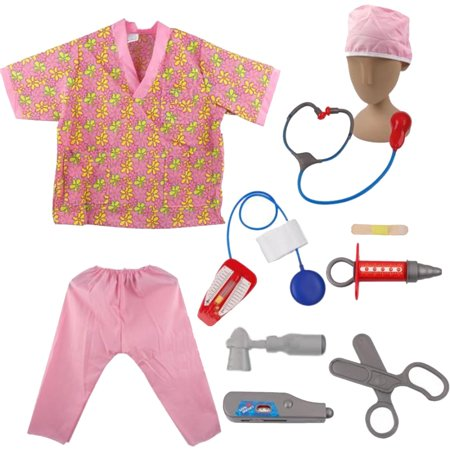 TopTie Doctor Nurse Role Play Set Dress Up Surgeon Costumes Set For Kids Great Gift Idea-Nurse-S