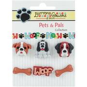 Buttons Galore Pets & Pals 6/Pkg-Its A Dogs Life