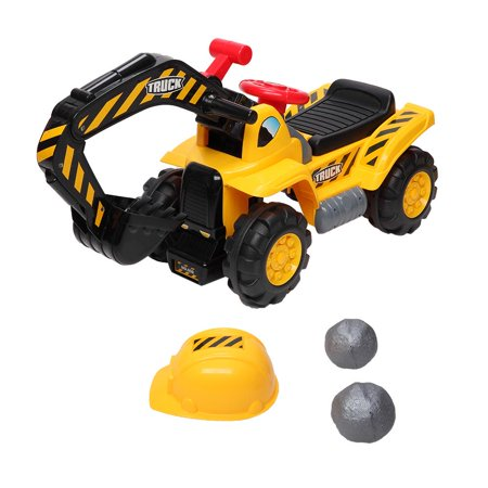 Ktaxon Kids Ride On Excavator, Outdoor Digger Truck Toy W/Safety Helmet, Rocks, Horn, Underneath Storage, Moving Forward/Backward