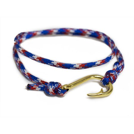 Adjustable Nautical Fish Hook Bracelet on Red White & Blue Maritime Rope Cord