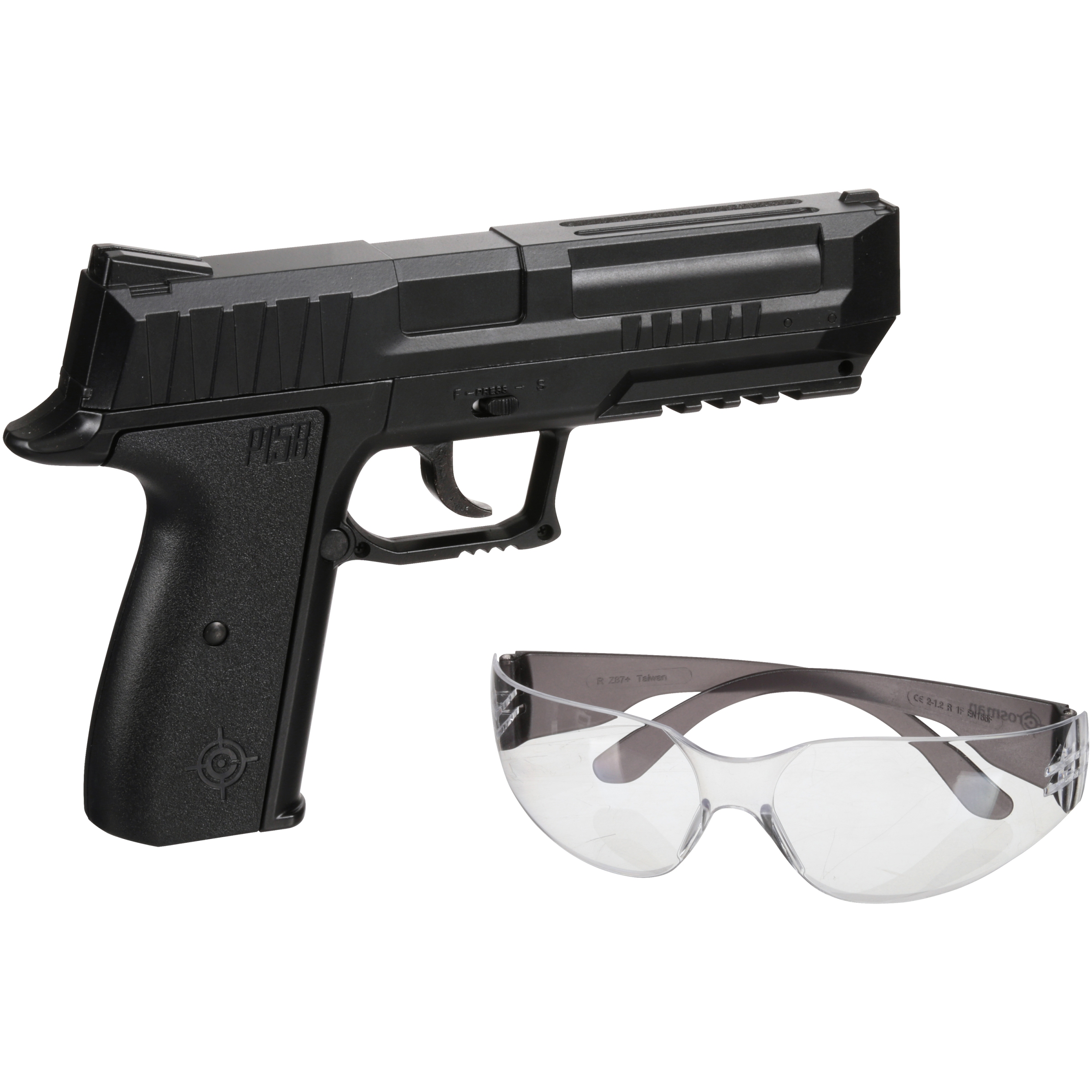 Crosman P15BKT Air Pistol Kit w/Gun, 350 BB's, Safety Glass