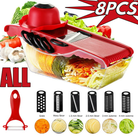 WALFRONT Mandoline Slicer Vegetable Cutter, 5 Stainless Steel Blades Food Storage Container Hand Protector Vegetable Cutter for Potato, Tomato, Onion, Cheese,