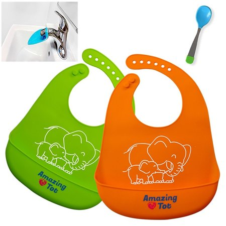 Waterproof Unisex Silicone Bib (2- pack). Stain-Resistant, Non Absorbent Food Catcher | FREE BONUS Silicone Spoon | FREE Faucet Extender