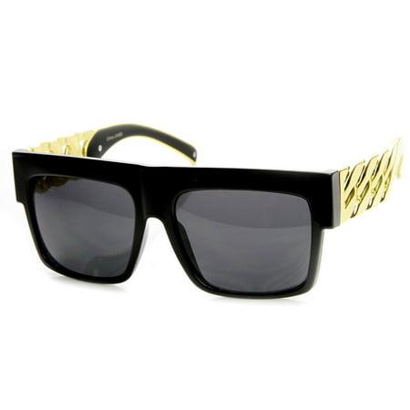 High Fashion Metal Chain Arm Flat Top Aviator Sunglasses - (Flat Top Arms)