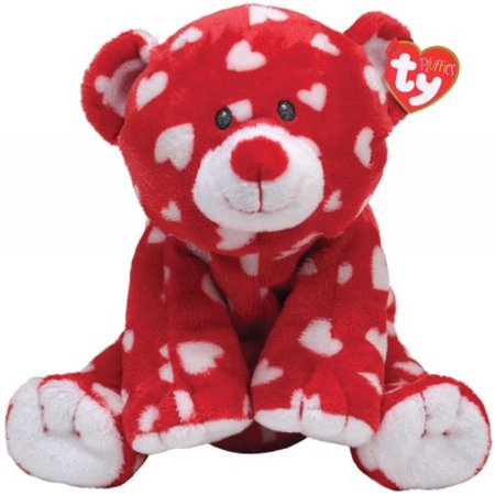 Ty Pluffies Dreamly Red Bear with White Hearts - Walmart.com 820903722d9