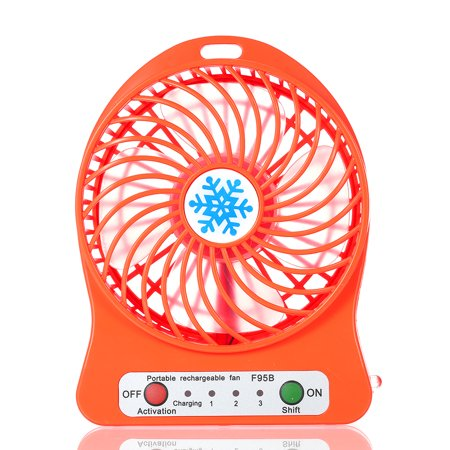 Red Led Fan (Portable Rechargeable LED Light Fan Mini Desk USB Charging Air Cooler 3 Mode Speed Regulation LED Lighting Function)