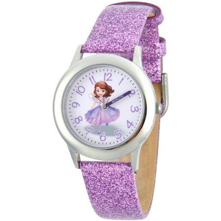 Princess Sofia Girls' Stainless Steel Time Teacher Watch, Purple Glitter Leather Strap