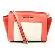 MICHAEL Michael Kors Womens Selma Leather Messenger Handbag Pink Medium